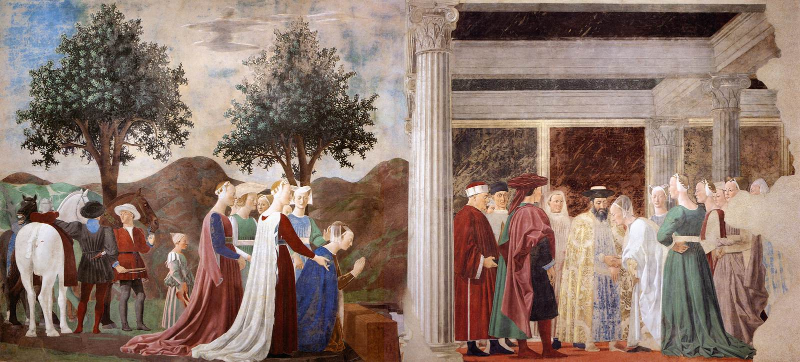Piero della Francesca 2. Procession of the Queen of Sheba Meeting between the Queen of Sheba and King Solomon WGA17487
