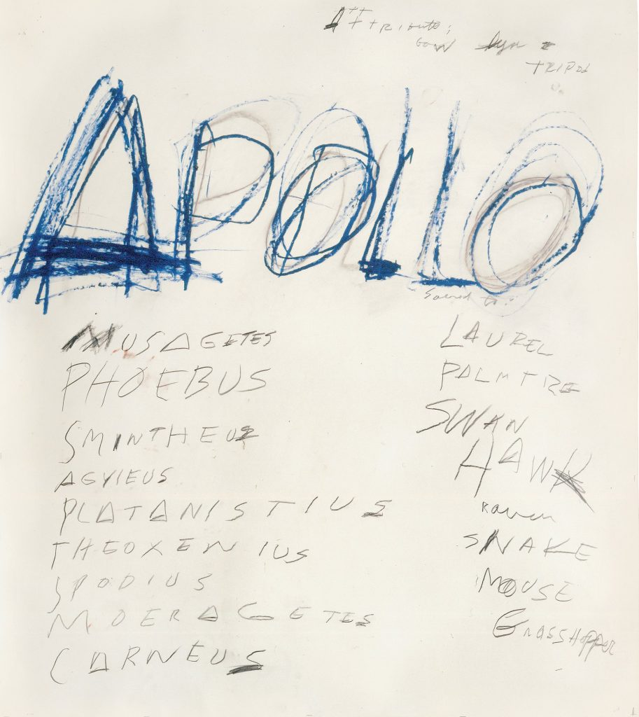 Apollo 1975 Photograph Cy Twombly Foundation courtesy Archives Nicola Del Roscio Photo Mimmo Capone 913x1024