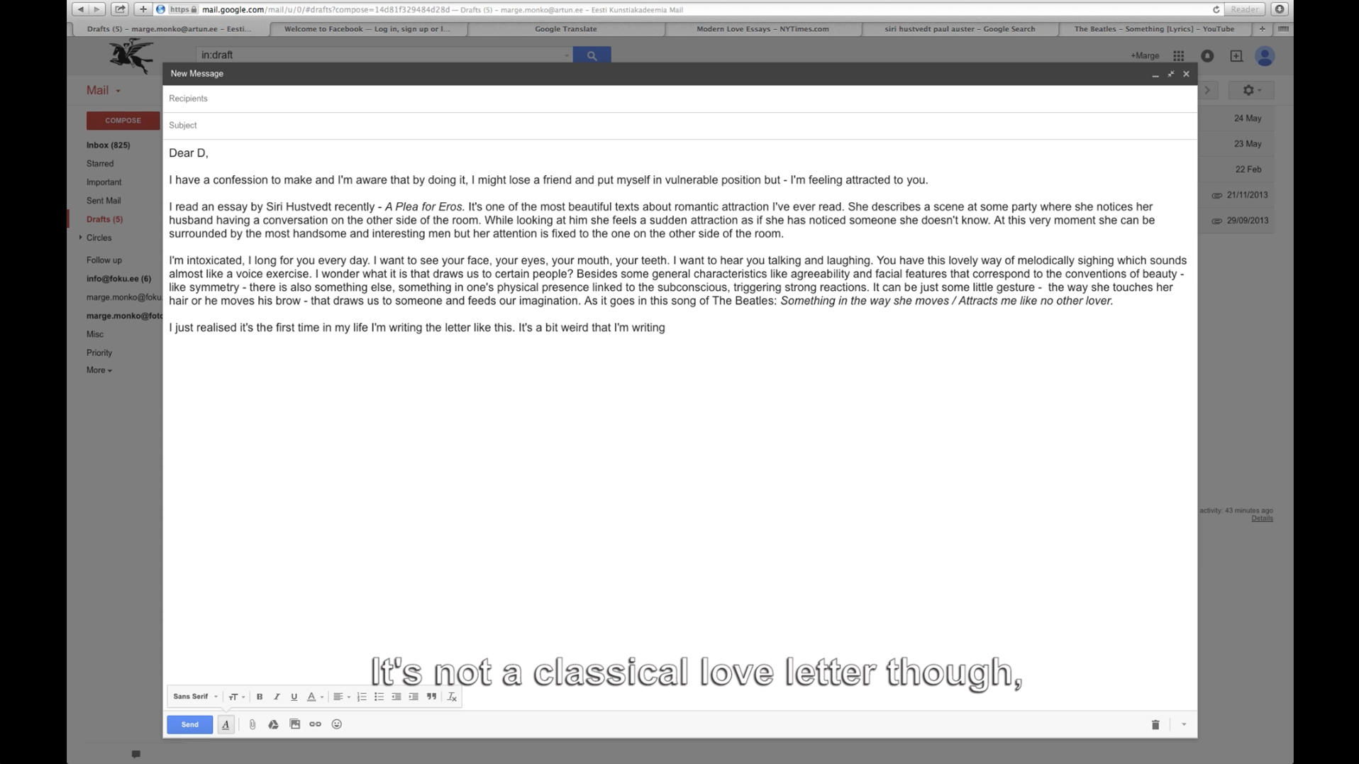 15 Dear D classical love letter Marge Monko
